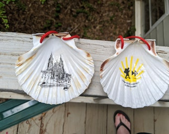 NEW!  Camino de Santiago Pilgrim Scallop Shells / Inside Image of the Cathedral or of the Pilgrim, Star and Arrow / St James / Baptism