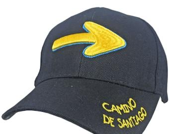 Black Camino de Santiago Cap / Hat / Arrow / Embroidered / Adjustable / Sun Protection / Pilgrim