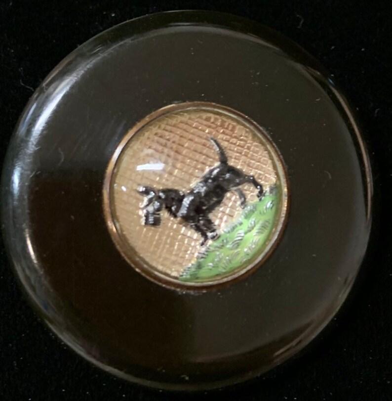 Vintage Bakelite Reverse Carved Glass Intaglio Scotty Dog Brooch