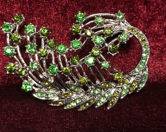 Vintage silver tone green rhinestone floral spray brooch