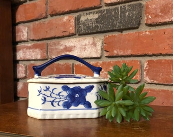 Blue and White Trinket Box