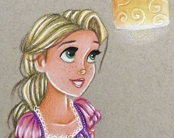 Rapunzel with lantern print