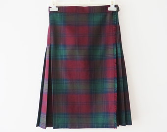 Vintage 80s Women Wrap Skirt Tartan Skirt Wool blend Kilt Vine Red Pleated Skirt Size Medium Skirt High Waist Skirt Knee Length Skirt