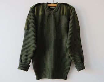 Vintage Wool Military Sweater Khaki Green Sweater Men Army Sweater Camo Olive Green Commando Pullover Grunge Elbow Patch Large Sweater