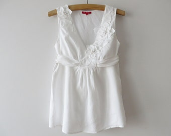 6503355719e White Summer Top Linen blend Blouse Sleeve less Tunic White Women Blouse  with Back Bow Tie Summer Days Blouse Maternity Blouse Large