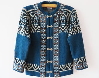 Blue Nordic Cardigan Warm Woolmark Wool Sweater Hooks Closure Jacket Knitted Pullover Knit Winter Cardigan Norwegian Jacket Medium