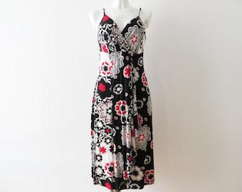 42092368671 Les bretelles Spaghetti robe d été femmes robe d été en coton fleuri noir  Jersey robe dos ouvert Empire taille robe cadeau pour sa taille moyenne