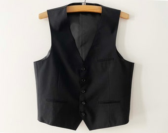 Black Steampunk Vest Classic Men Waistcoat Black Formal Vest Gentlemen/'s Edwardian Wedding Grooms Vest Victorian Gift for Him Small
