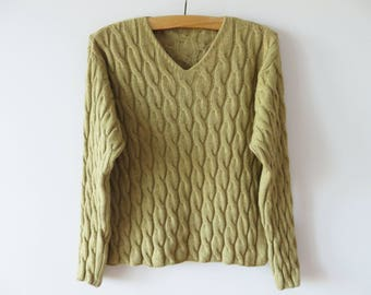 Vintage Cable Knitted Sweater Merino Wool Cashmere blend Women Pullover Aran Knit Sweater Khaki Green Warm Winter Sweater Size Large