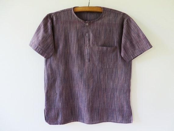 884a58310367fe Men Boho Shirt Oriental Ethnic Shirt Collar less Summer Shirt Men Tribal Shirt  Hippy Boho Shirt Short Sleeve Bohemian Hippie Shirt Medium