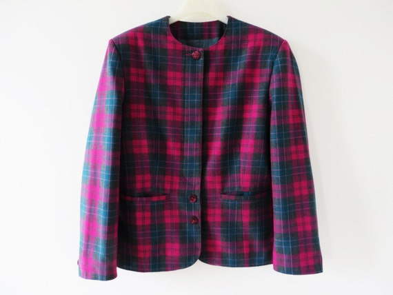 2ca52dd3cf42e Sweat capuche femme plaid laine Blend Blazer veste en laine   Etsy