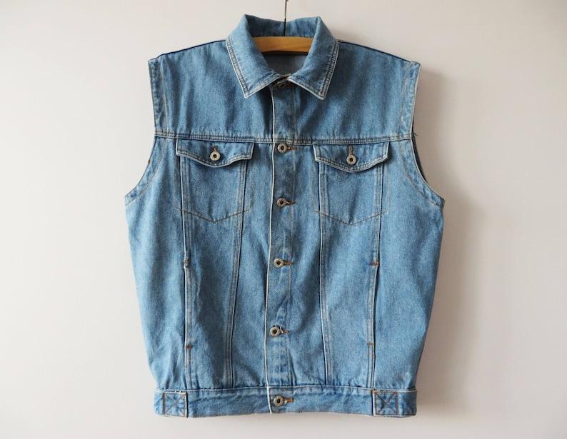 b2bf77c2cc661 Vintage 90s Denim Vest Blue Denim Vest Denim Waistcoat Denim