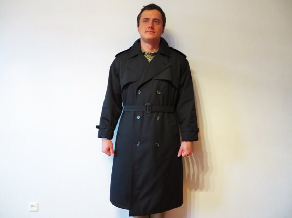 Classic Men's Trench Navy Blue Trench Coat Double