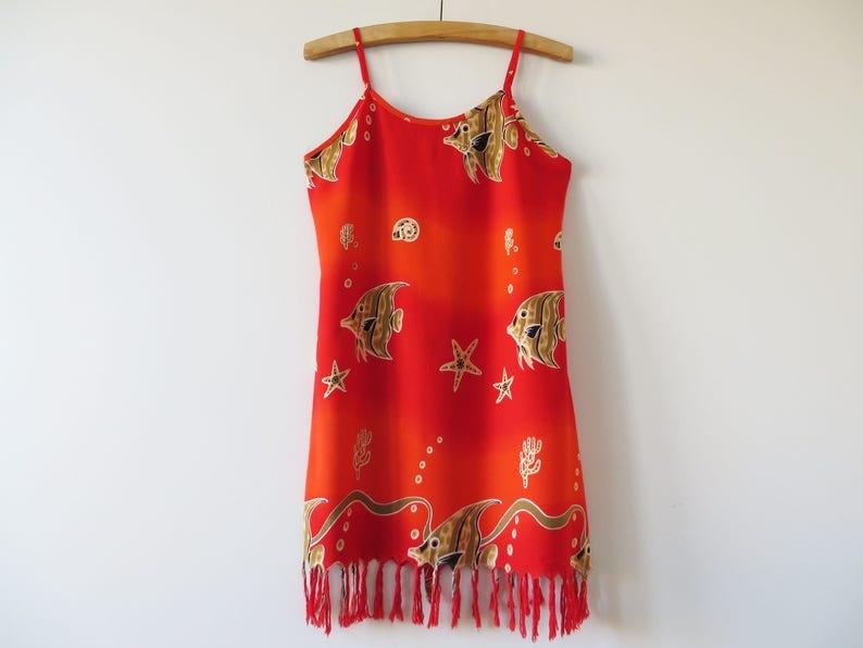 Oranje Rode Jurk.Vintage Zomer Jurk Oranje Rode Viscose Jurk Vis Print Jurk Etsy