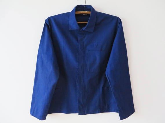 UtilityWork Wear Vintage Mens Blue Workers Chore Jacket Quality Retro Fashion- -LARGE-