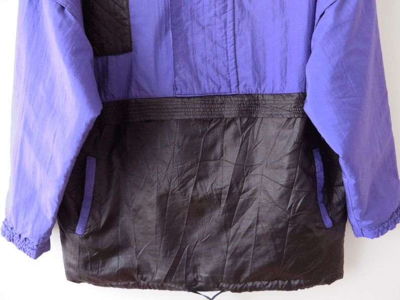 Vintage 80s Windbreaker Purple Anorak Jacket Cropped Parka Hipster Bomber Jacket Lightweight Jogging Jacket Vintage Handmade Large