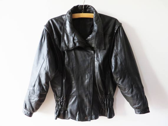 Vintage 80s Black Leather Jacket Black Biker Jacke