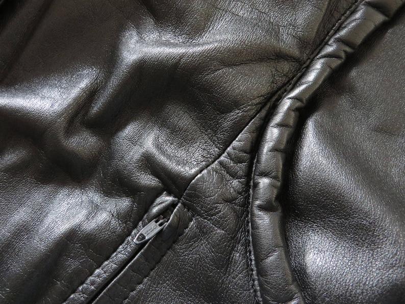 Vintage 80s Black Leather Jacket Black Biker Jacket Cropped Women Leather Coat Motorcycle Jacket Leather Outerwear Leather Fetish Large