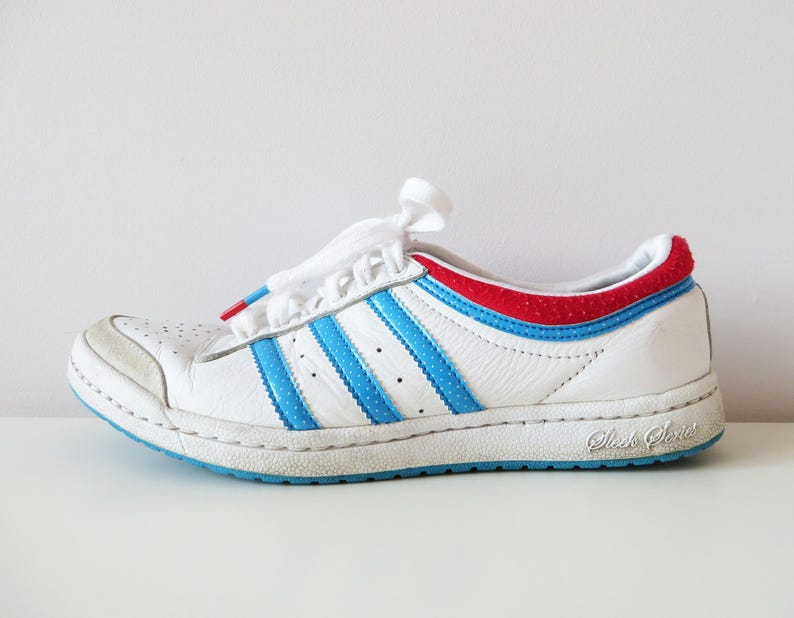 Vintage Adidas Sneakers White Leather Sport Shoes Original Adidas Tie Sneakers Athletic Shoes Three Stripes Collector Sneakers