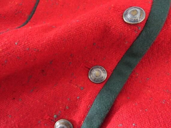 Misto rosso donne giacca Trachten Blazer rosso Loden giacca lana Baviera giacca Austria tirolese Cropped Dirndl giacca suoni della musica medio