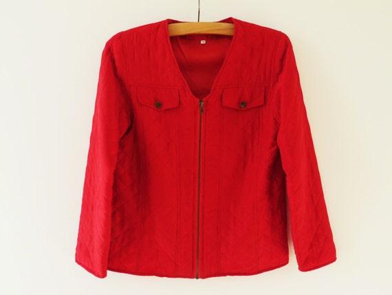 Red Silk Jacket Red Quilted Jacket Silk Women Jack