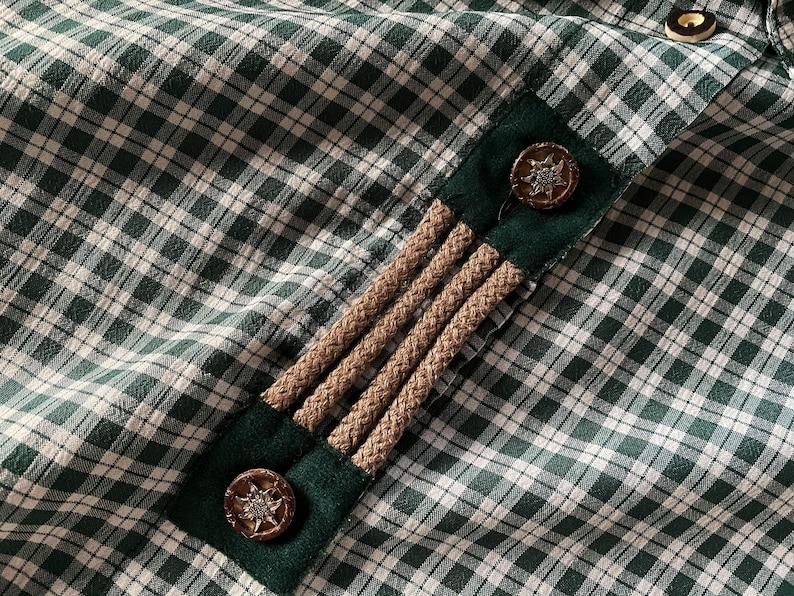 Green Gingham Plaid Dirndl Blouse Women Loden Shirt Short Sleeve Button up Summer Blouse Trachten Austrian Folk Shirt Gift for Women Large