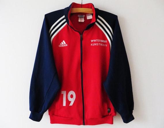 Vintage Sport Adidas rouge veste Adidas Track Jacket Adidas Jacket Running Parka Adidas 3 bandes de survêtement veste grande veste de Jogging