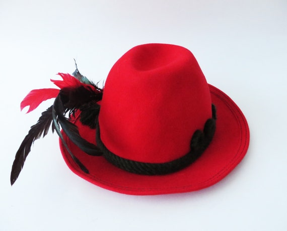 Vintage 80s Red Fedora Hat Austrian Mountain Hat F