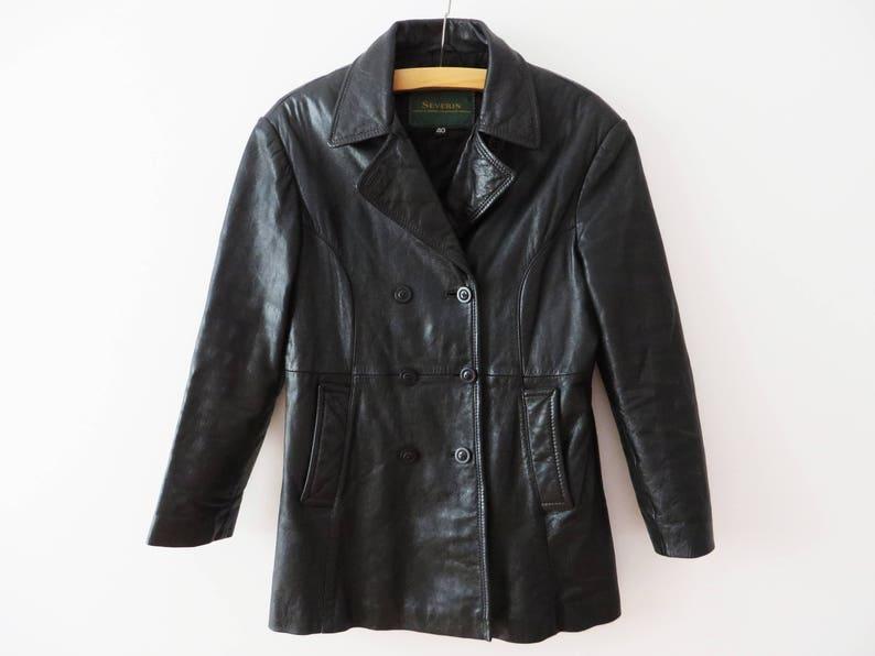 feedbc4db238 Vintage 90s Leather Trench Coat Women Black Leather Jacket