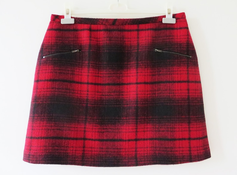 5f2adafbb Red Plaid Wool Mini Skirt Tartan Plaid Skirt Red Black Checkered Warm Low  Waist Skirt Back to School Gift for Her Size Large
