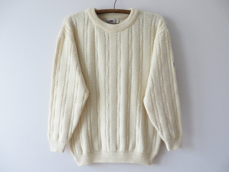 52d80a236 Vintage 80s Knit Men Sweater Ivory Wool blend Cable Knitted