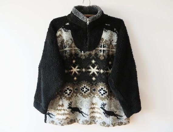 90s Fleece Sweater Hippie Deer print Pullovert Boh