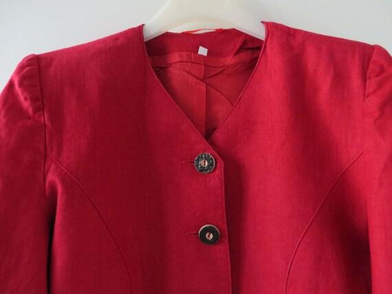 Rossa donna Giacca componibile Trachten Blazer Giacca rossa di Loden Baviera giacca Austria tirolese ritagliata Dirndl giacca suoni di musica medie