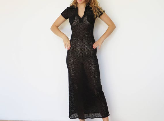 Vintage Black Lace Sheer Maxi Dress Long Fitted See Through Sexy Dress Black Translucent Dress Bohemian Summer Night Party Dress Size Medium