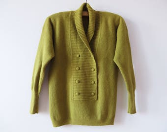 Vintage Wool Angora Women Pullover Knitted Women Sweater Khaki Green Double Breasted Warm Winter Sweater Shawl Collar Shoulder Pads Medium
