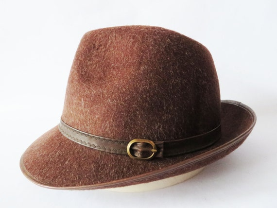 Vintage 80s Wool Fedora Hat Chocolate Brown Hat Felted Wool  69ab42828fe
