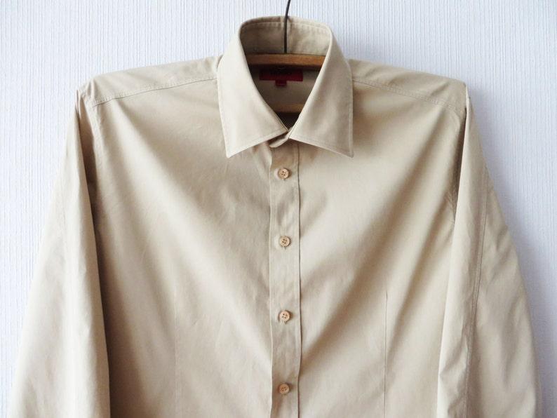 Vintage HUGO Boss Shirt Beige Brown Fitted Dress Up Shirt Grooms Long Sleeve Slim Fit Shirt Formal Evening Button Up Shirt Button Down Large