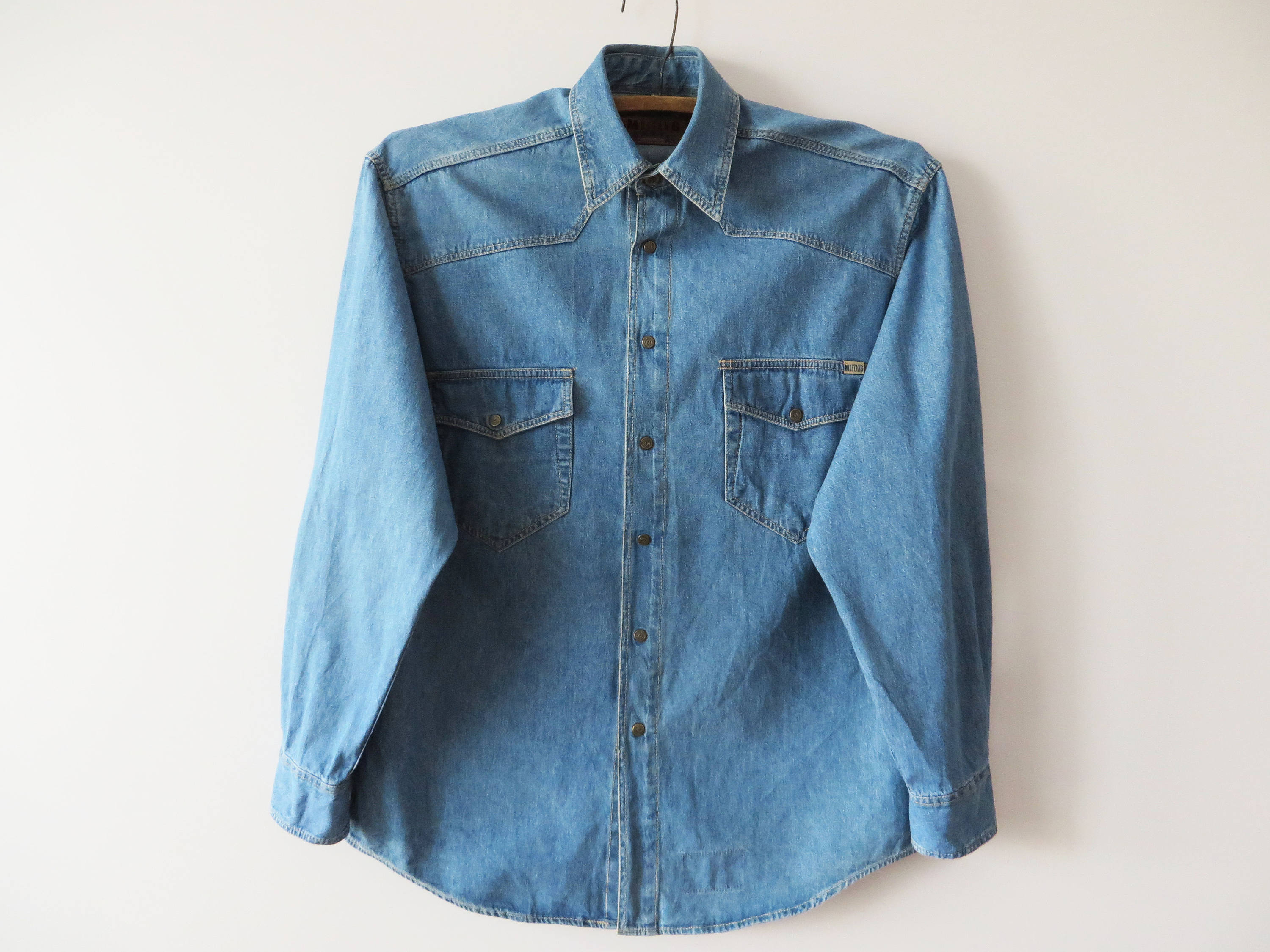 0dd880d5e4 Men s Denim Shirt Mustang Jeans Shirt Long Sleeve Shirt