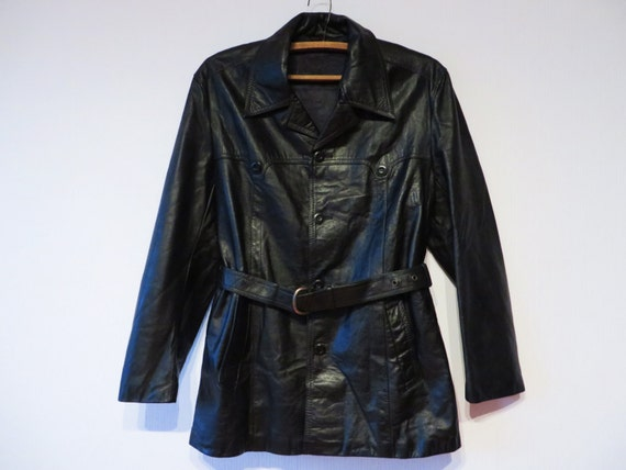 Black Leather Jacket Black Leather Trench Belted L