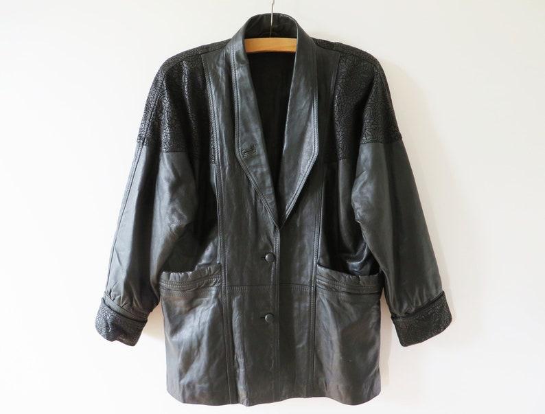 Vintage 80s Leather Parka Coat Black Leather Jacket Shoulder image 0