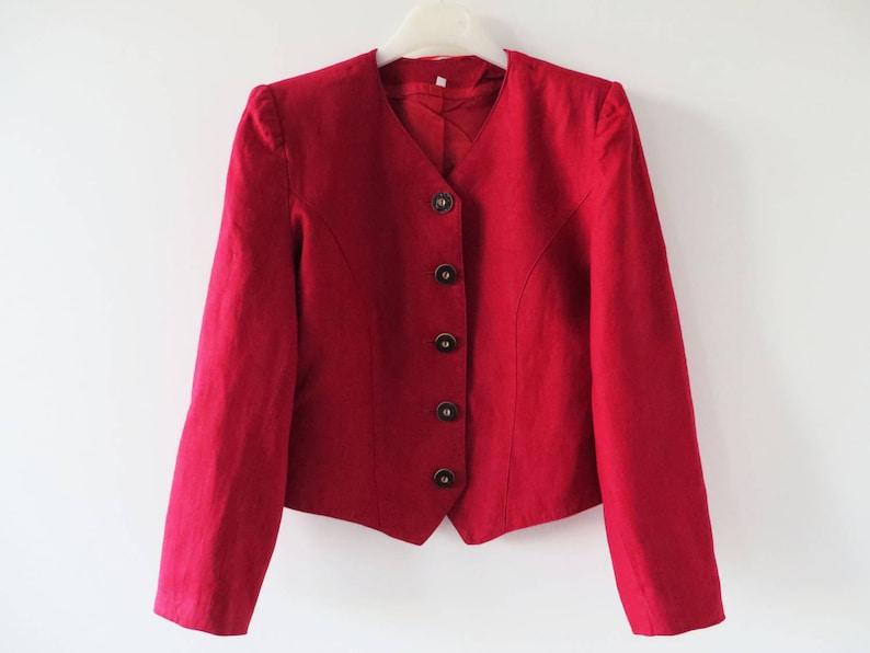 best service 04f36 61f6d Rossa donna Giacca componibile Trachten Blazer Giacca rossa di Loden  Baviera giacca Austria tirolese ritagliata Dirndl giacca suoni di musica  medie ...