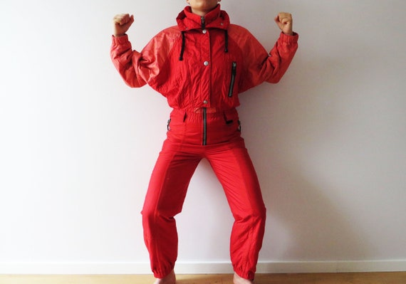 80s One Piece LUHTA Ski Suit Hot Red Snowsuit Wint