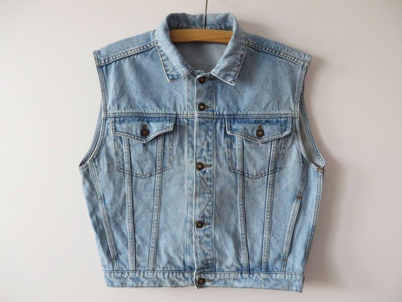 042d3f9916708 Vintage 90s Denim Vest Blue Denim Vest Short Denim Waistcoat
