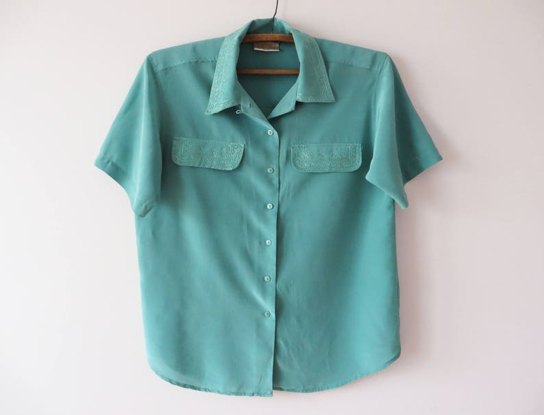 318260be6d86b1 Vintage 80 s Embroidered Women Silk Blouse Mint Green Silk