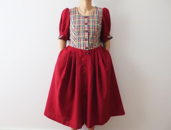 Dirndl Dress Red Austrian Folk Gown Women Trachten