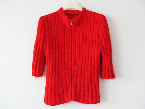 Vintage 70s Hot Red Knit Sweater Mohair Women Zipped Cardigan Short Sleeve Soft Winter Holiday Top Bright Women Sweater Gift For Her Medium by Etsy