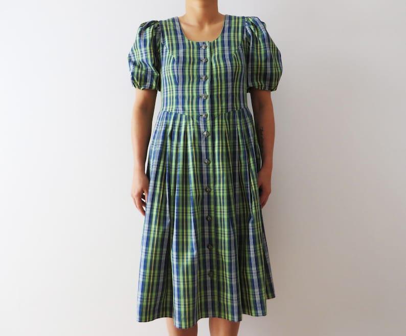Dirndl Dress Austrian Folk Dress Green Plaid Dress Oktoberfest Dress Puff Sleeve Dress Austrian National Dress Cotton Cottage Gown Medium