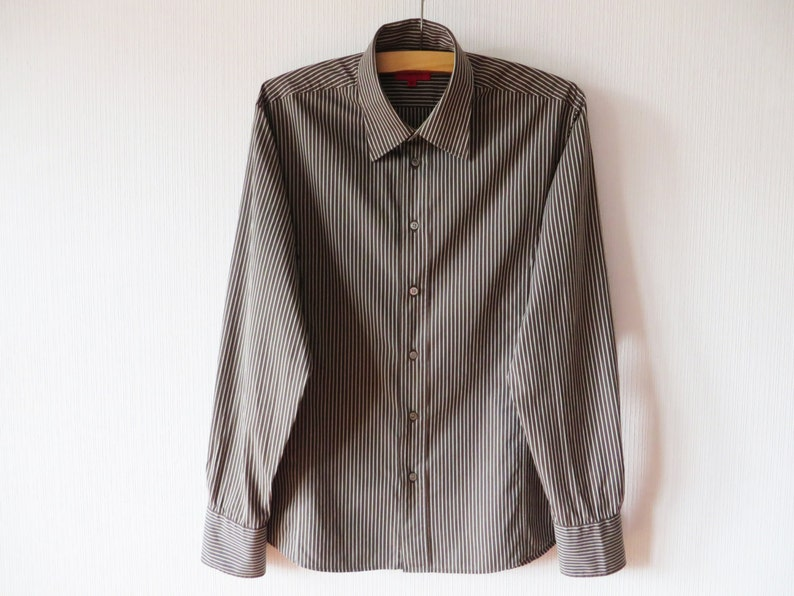 83e524b27d HUGO Boss Shirt Vintage Striped Shirt Men Button up Shirt   Etsy