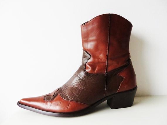 Stitch Details Low Heel Cowboy Boots Sizes 5 6 7 8 FREE P/&P RM
