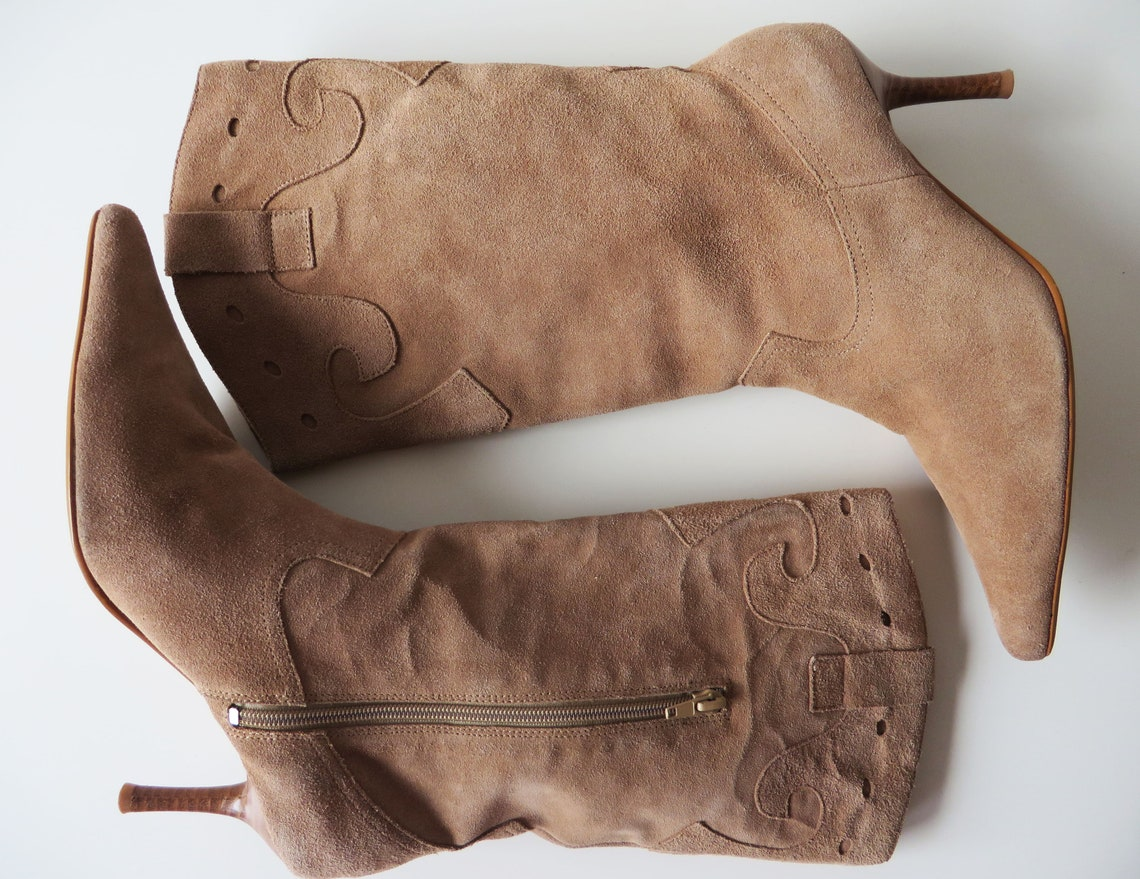 Size US 8.5 Pointed Toe Suede Leather Boots Sand Beige Real Leather Cowboy Style Boots High Heel Women Booties Gift for Her EUR 39 UK 6